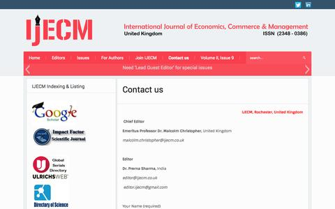 Screenshot of Contact Page ijecm.co.uk - Contact Journal - IJECM, UK | International Journal of Economics, Commerce & Management - captured Oct. 1, 2014