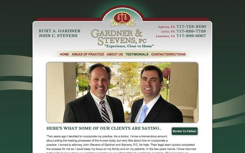Screenshot of Testimonials Page gardnerstevens.com - Client Testimonials & Reviews | Gardner & Stevens Law Firm - captured Oct. 22, 2014