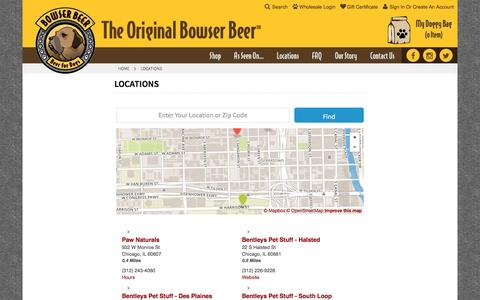 Screenshot of Locations Page bowserbeer.com - Locations - captured Nov. 28, 2016