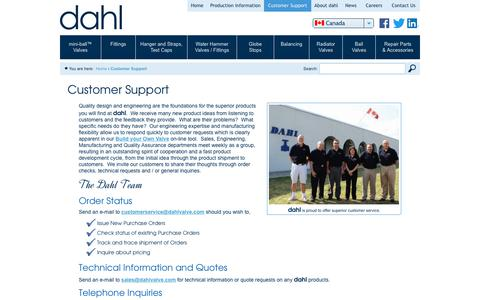 Screenshot of Support Page dahlvalve.com - Customer Support   Dahl Valve Limited - captured Oct. 25, 2018
