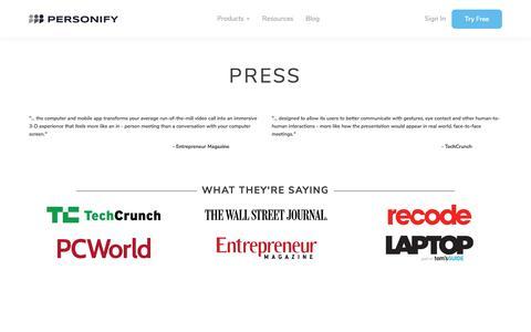 Screenshot of Press Page personifyinc.com - Press   Personify - captured Dec. 2, 2019