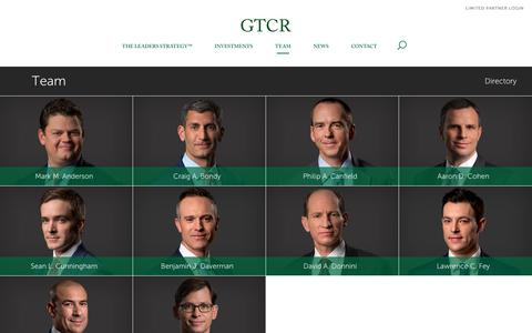 Screenshot of Team Page gtcr.com - Results with Leaders - Resourceful Relentless in Accomplishing Goals and Results - GTCR - captured Sept. 26, 2018