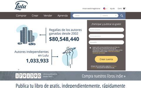 Screenshot of Home Page lulu.com - Publica tu libro independientemente de gratis en línea en Lulu.com - captured Oct. 13, 2017