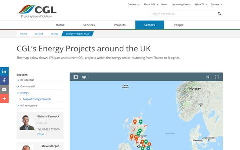 Screenshot of Maps & Directions Page cgl-uk.com - Energy Projects Map - CGL - captured Sept. 25, 2018