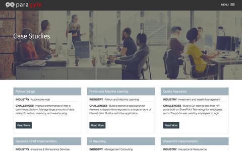 Screenshot of Case Studies Page paragyte.com - Case Studies | Paragyte - captured July 13, 2017