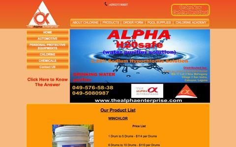 Screenshot of Products Page chlorinesupplier.com - Chlorine | The Alpha Enterprise - captured May 9, 2016