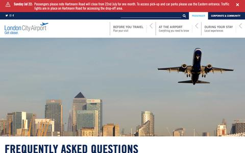 Screenshot of FAQ Page londoncityairport.com - Can I use the self-service check-in kiosks? - Frequently Asked Questions  | London City Airport - captured July 23, 2018