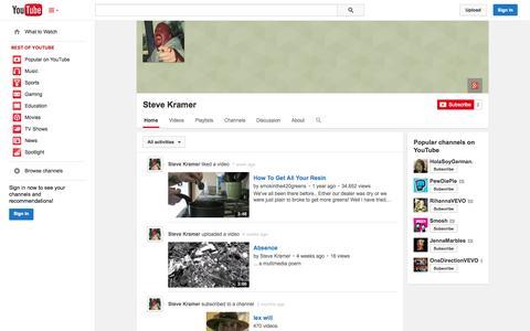 Screenshot of YouTube Page youtube.com - Steve Kramer  - YouTube - captured Oct. 23, 2014