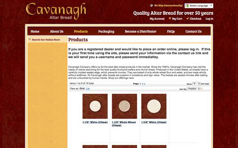 Screenshot of Products Page cavanaghco.com - Church Bread – Cavanagh Company - captured May 23, 2016