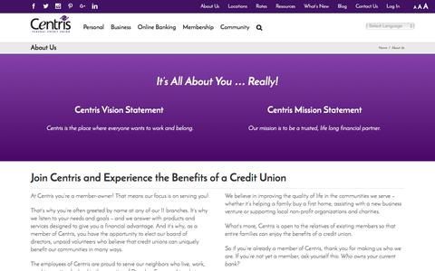 Screenshot of About Page centrisfcu.org - Benefits of a Credit Union | Omaha NE | Centris Federal Credit Union - captured Nov. 1, 2016