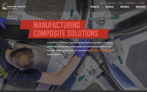 Screenshot of Home Page innovativecomposite.com - Innovative Composite Engineering • Tubes, Moldings and More - captured Oct. 6, 2014