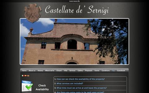 Screenshot of FAQ Page villacastellare.tuscany.it - Luxury tuscan villa – Faq castellare de' Sernigi - captured Oct. 3, 2014
