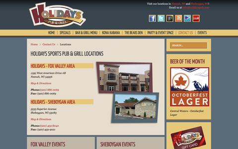 Screenshot of Maps & Directions Page holidayspub.com - Locations | Holidays Sports Pub and Grill - captured Oct. 2, 2014