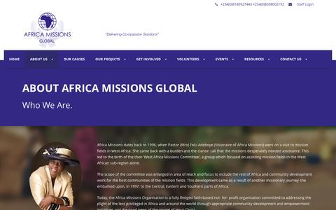 Screenshot of About Page africamissionsglobal.org - Africa Missions Global   � About us - captured Dec. 24, 2015