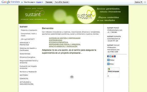 """Screenshot of Home Page sustant-international.com - SUSTANT Calidad, Sostenibilidad y Responsabilidad Social - Proyectos y consultoría internacional - SUSTANT """"Calidad, Sostenibilidad y Responsabilidad Social"""" - captured Sept. 30, 2014"""