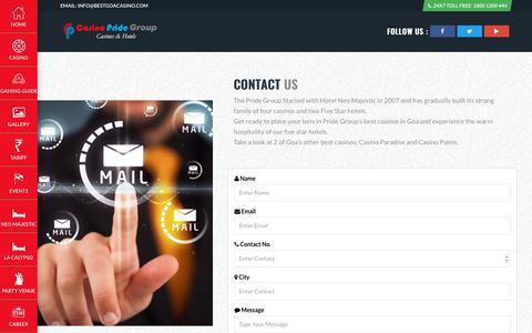 Screenshot of Contact Page bestgoacasino.com - Casino Pride Goa - captured Sept. 25, 2018