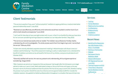Screenshot of Testimonials Page fmcstaffs.co.uk - Testimonials - captured Oct. 13, 2017