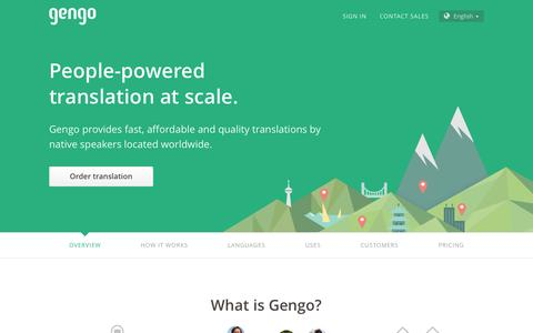 Screenshot of Home Page gengo.com - Gengo - Professional Translation Services by Gengo - captured Oct. 1, 2015