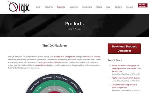 Screenshot of Products Page globaliqx.com - Global IQX® Enterprise Solution: Global IQX - captured May 19, 2017