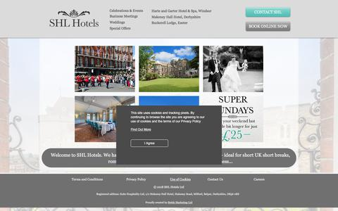 Screenshot of Home Page shlhotels.com - SHL Hotels, Short breaks UK - captured July 29, 2018