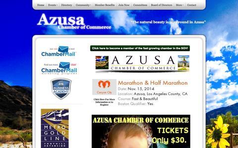 Screenshot of Home Page azusachamber.org - Azusa Chamber of Commerce - captured Oct. 4, 2014