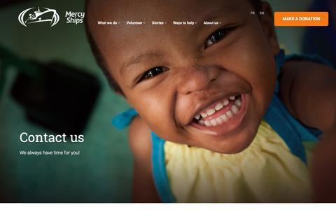 Screenshot of Contact Page mercyships.ca captured Nov. 15, 2018