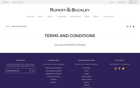 Screenshot of Terms Page rupertandbuckley.com - Terms and Conditions - Rupert and Buckley - captured June 15, 2017