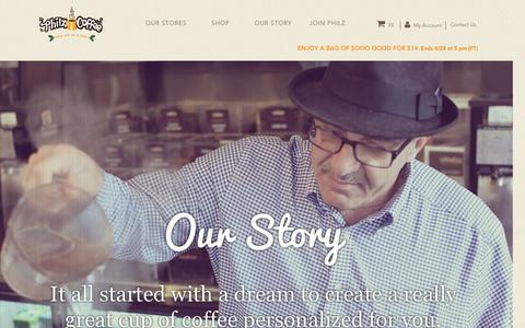 Screenshot of About Page philzcoffee.com - Our Story - captured April 17, 2017