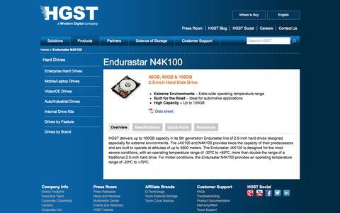 Screenshot of Products Page hgst.com - Endurastar N4K100 | HGST Storage - captured Oct. 31, 2014