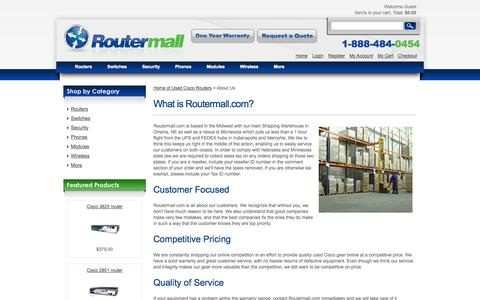 Screenshot of About Page routermall.com - Buy Used Cisco Routers, Switches and Network Hardware at Routermall - About Us - captured Oct. 9, 2014