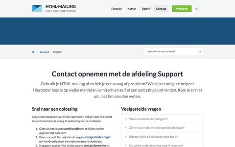 Screenshot of Support Page html-mailing.nl - Contact opnemen met de afdeling Support - HTML-mailing - captured May 13, 2017