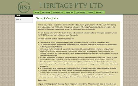 Screenshot of Terms Page hsaheritage.com - Terms & Conditions - captured Oct. 15, 2016