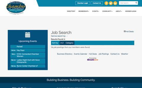 Screenshot of Jobs Page byroncenterchamber.org - Job Search - Byron Center Chamber of Commerce, MI - captured Oct. 11, 2017