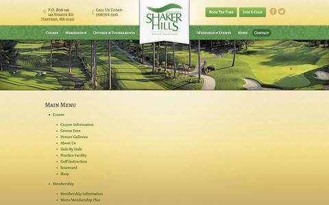 Screenshot of Site Map Page shakerhills.com - Main Menu   Shaker Hills Golf Club - Harvard, MA - captured Oct. 1, 2014