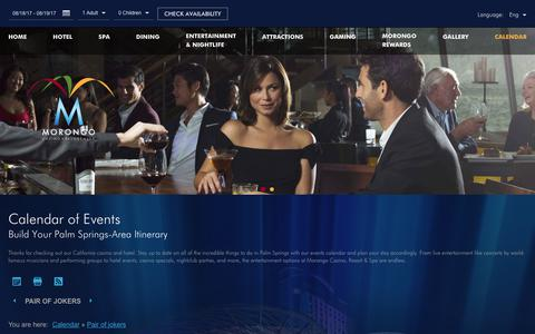 Screenshot of morongocasinoresort.com - Morongo Casino Events | Morongo Casino Resort - captured Aug. 18, 2017
