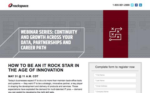 Screenshot of Landing Page rackspace.com - How to Be an IT Rock Star in the Age of Innovation - captured May 22, 2018