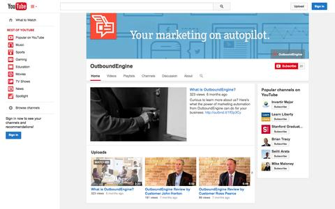 Screenshot of YouTube Page youtube.com - OutboundEngine  - YouTube - captured Oct. 22, 2014