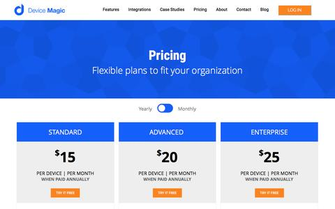 Screenshot of Pricing Page devicemagic.com - Pricing - captured Feb. 3, 2017