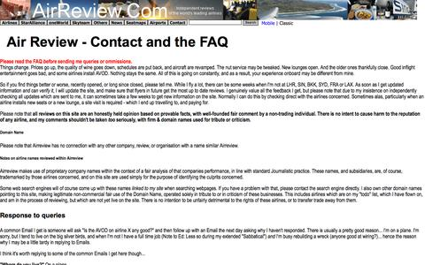 Screenshot of Privacy Page Contact Page FAQ Page Terms Page airreview.com - AirlineName Reviews - Contact & Cookie Policy - captured Aug. 28, 2016