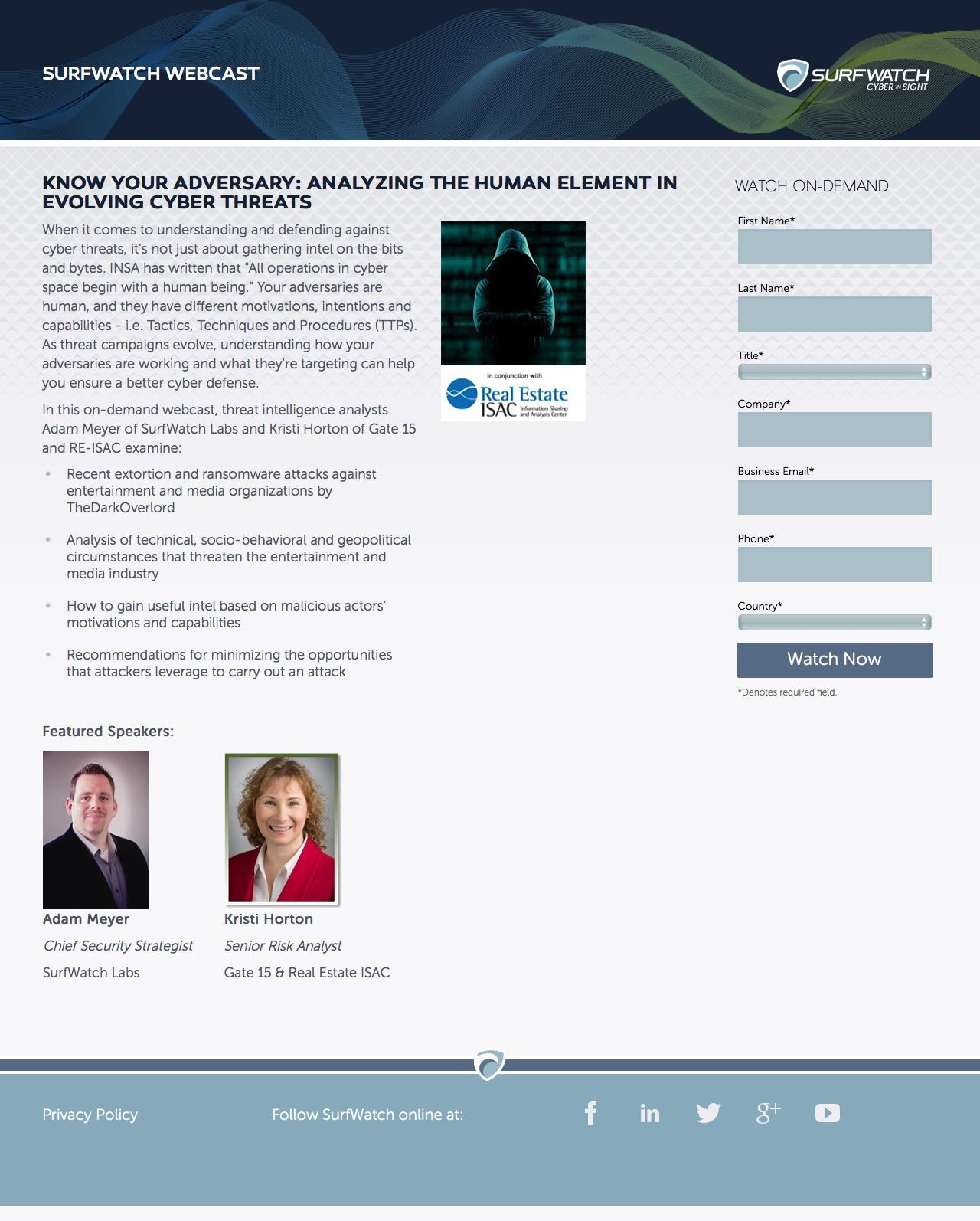 Screenshot of surfwatchlabs.com - Know Your Adversary: Analyzing the Human Element in Evolving Cyber Threats - captured Sept. 7, 2017