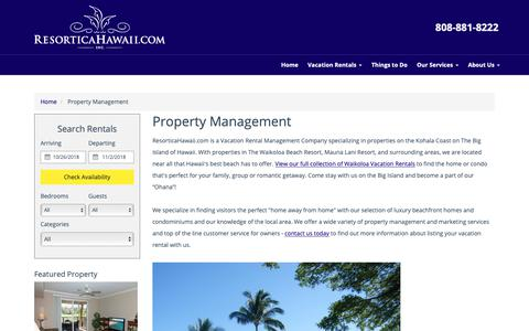 Screenshot of About Page resorticahawaii.com - Waikoloa Beach Vacation Home Property Management Services | Kohala Coast | Hawaii - captured Oct. 24, 2018