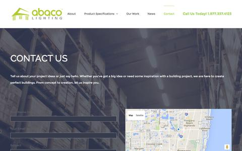 Screenshot of Contact Page abacolighting.com - Contact – Abaco Lighting - captured Feb. 5, 2016