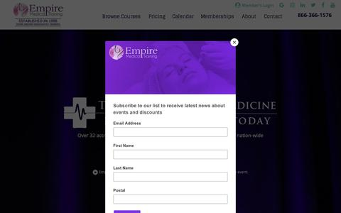 Screenshot of Home Page empiremedicaltraining.com - Medical Training and Workshops for Physicians and Nurses | Botox Training - captured Sept. 19, 2018
