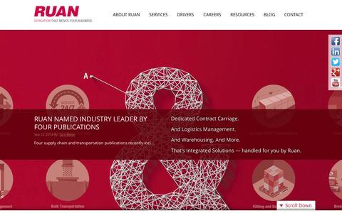 Screenshot of Home Page ruan.com - Ruan Transportation Management Systems - Logistics, Fleet Management & More - captured Oct. 6, 2014