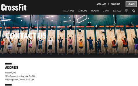 Screenshot of Contact Page crossfit.com - CrossFit | Contact Us - captured Feb. 12, 2020