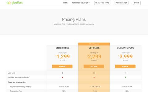 Screenshot of Pricing Page giveffect.com - Pricing - captured Jan. 9, 2018
