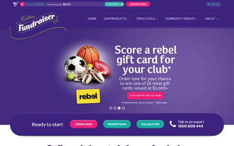 Screenshot of Home Page fundraising.com.au - Fundraising ideas and products in Australia for schools, clubs, and business | Cadbury Fundraising - captured April 27, 2017