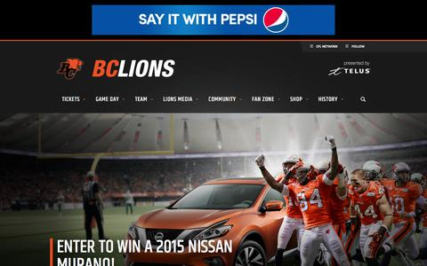 Screenshot of Home Page bclions.com - BC Lions - Official site - captured Jan. 19, 2016