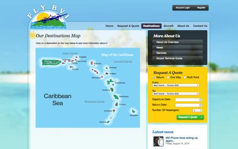 Screenshot of Maps & Directions Page flybvi.com - Destinations :: Fly BVI :: Caribbean Air Charter - captured Sept. 30, 2014