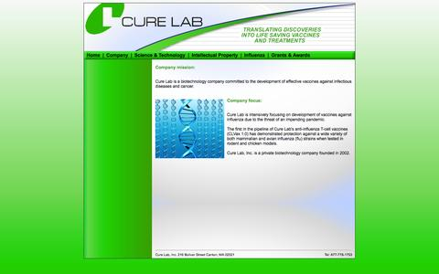Screenshot of Home Page curelab.com - CureLab - captured Sept. 30, 2014